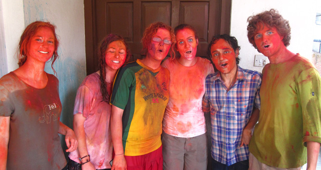 Volunteers enjoying Holi - the festival of colors